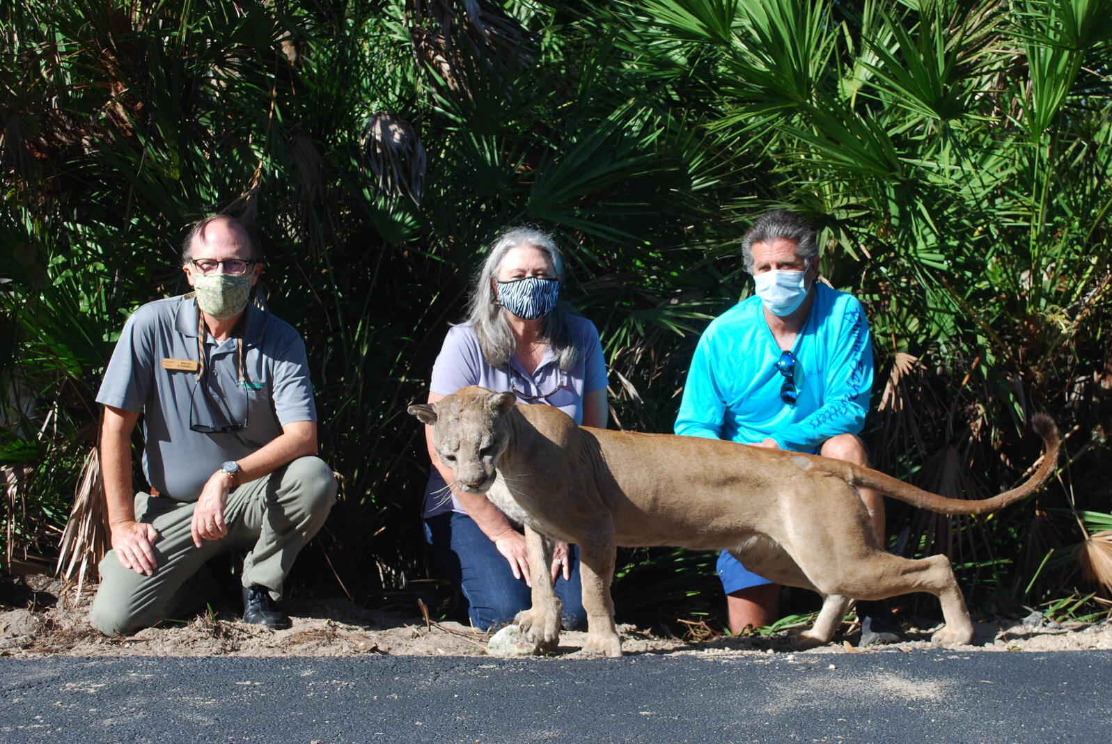 People with mounted Florida Panther