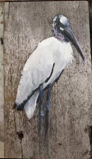 Leslie Burgess painting on boardwalk piece of Wood Stork.
