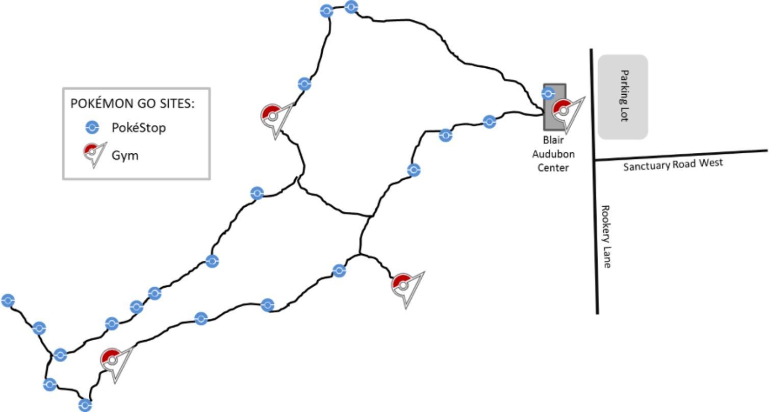 Map of Pokemon GO locations at Corkscrew Swamp Sanctuary