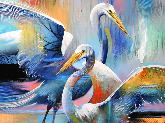 Painting titled Twin Egrets